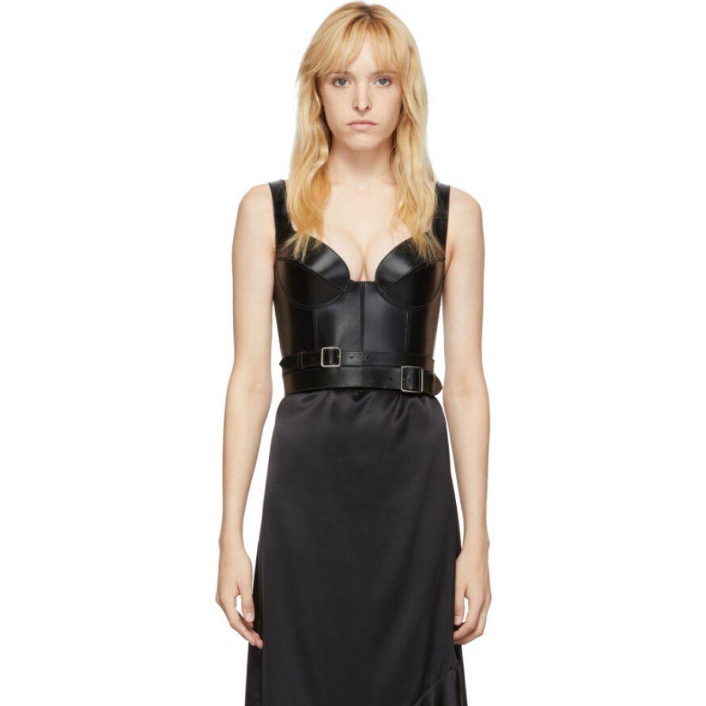 アレキサンダー マックイーン Alexander McQueen レディース ベアトップ・チューブトップ・クロップド トップス【black leather corset】Black
