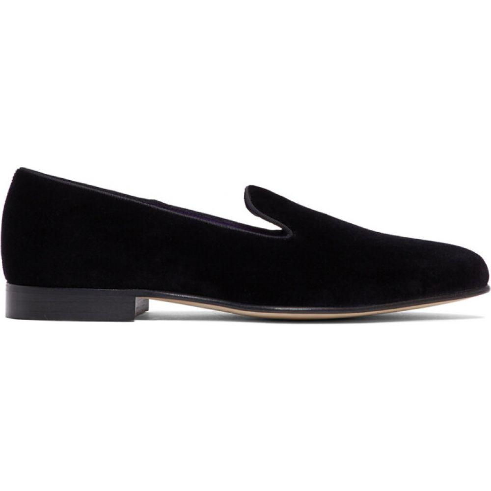 ラルフ ローレン Ralph Lauren Purple Label メンズ スリッパ シューズ・靴【black velvet alonzo slippers】Black
