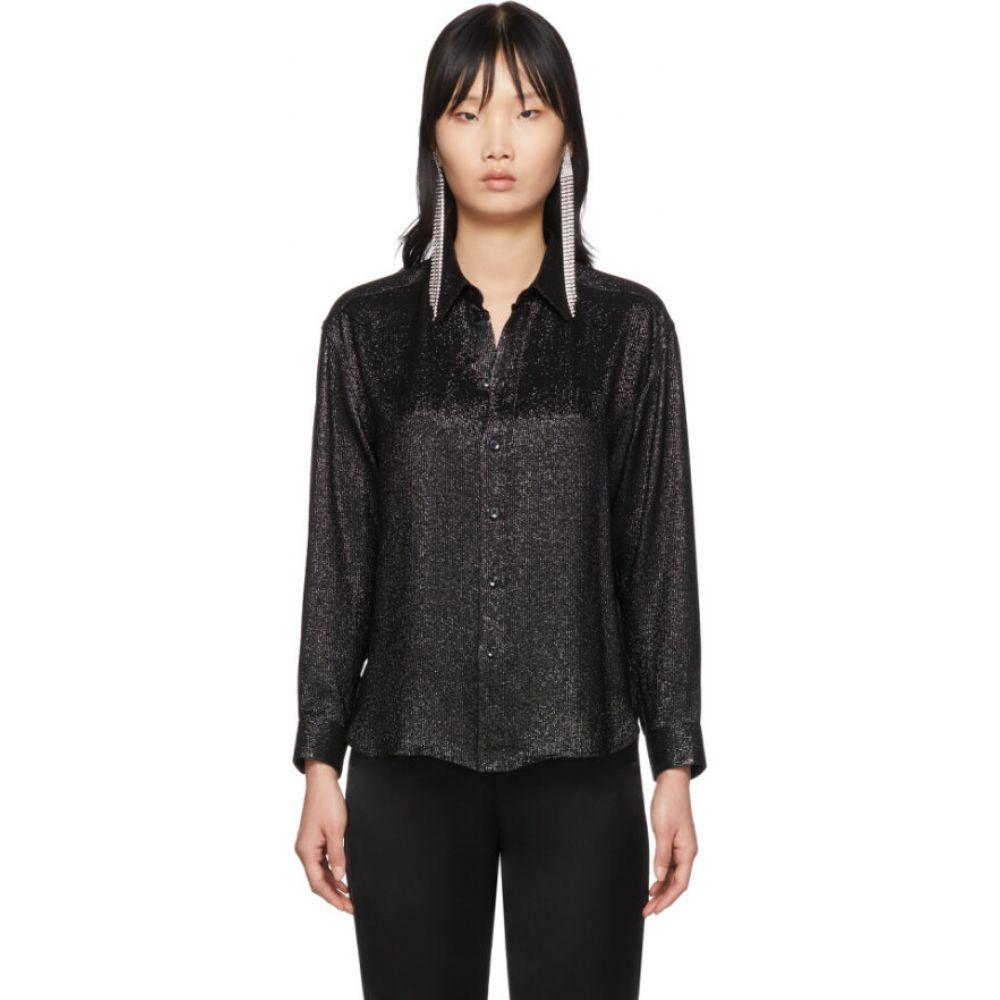 イヴ サンローラン Saint Laurent レディース ブラウス・シャツ トップス【black silk shirt】Black