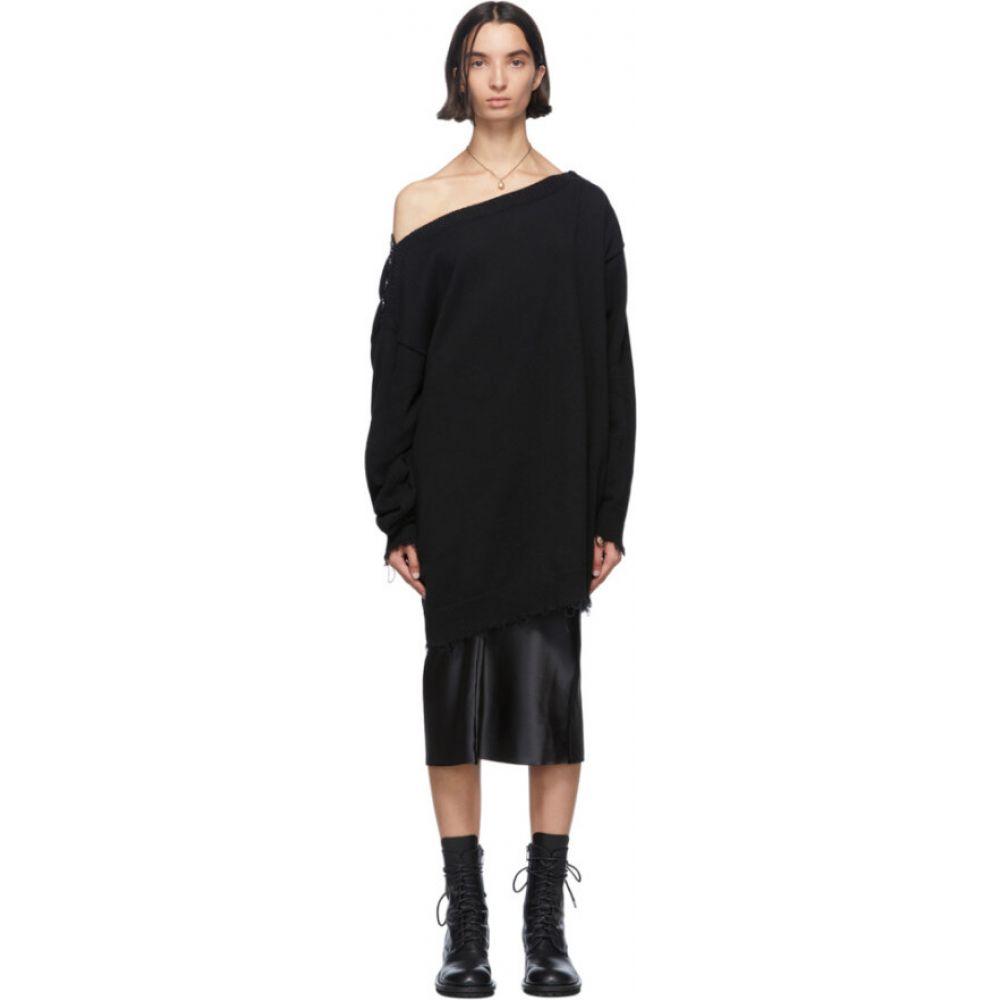 アンドゥムルメステール Ann Demeulemeester レディース オフショルダー ニット・セーター トップス【black knit off-the-shoulder sweater】Black