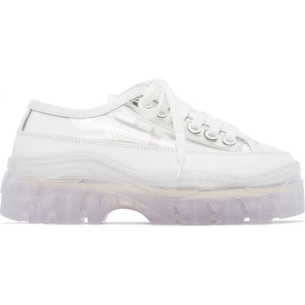 エムエスジーエム MSGM レディース スニーカー チャンキーヒール シューズ・靴【white transparent chunky sole sneakers】White