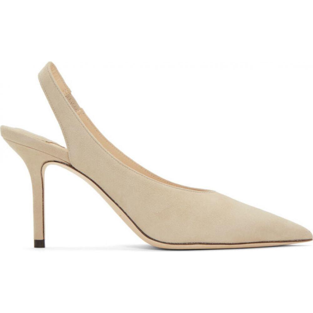 ジミー チュウ Jimmy Choo レディース ヒール シューズ・靴【taupe suede ivy 85 slingback heels】White sand