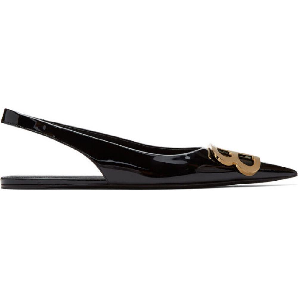 バレンシアガ Balenciaga レディース スリッポン・フラット シューズ・靴【black patent bb slingback ballerina flats】Black/Gold