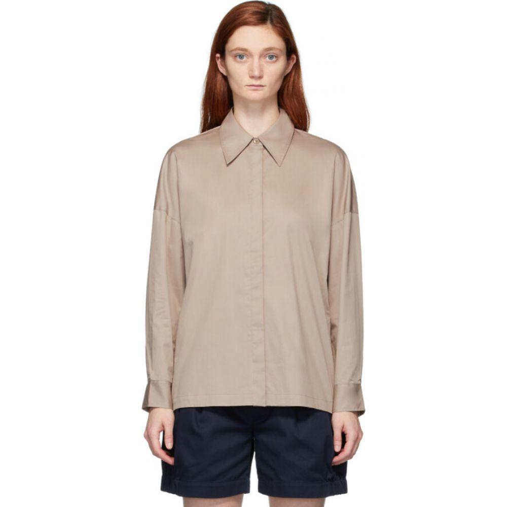 ティビ Tibi レディース ブラウス・シャツ トップス【beige eco poplin oversized shirt】Latte