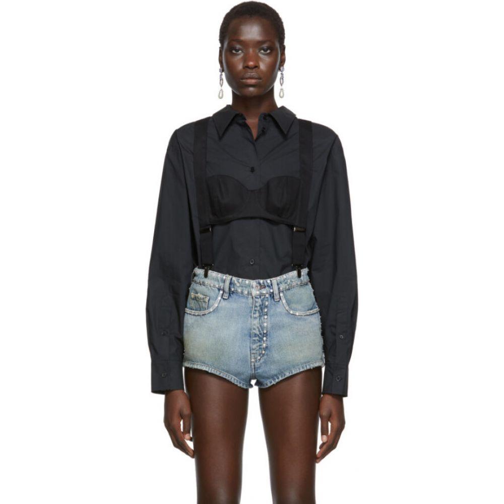プッシュボタン Pushbutton レディース ブラウス・シャツ トップス【black high neck suspenders blouse】Black
