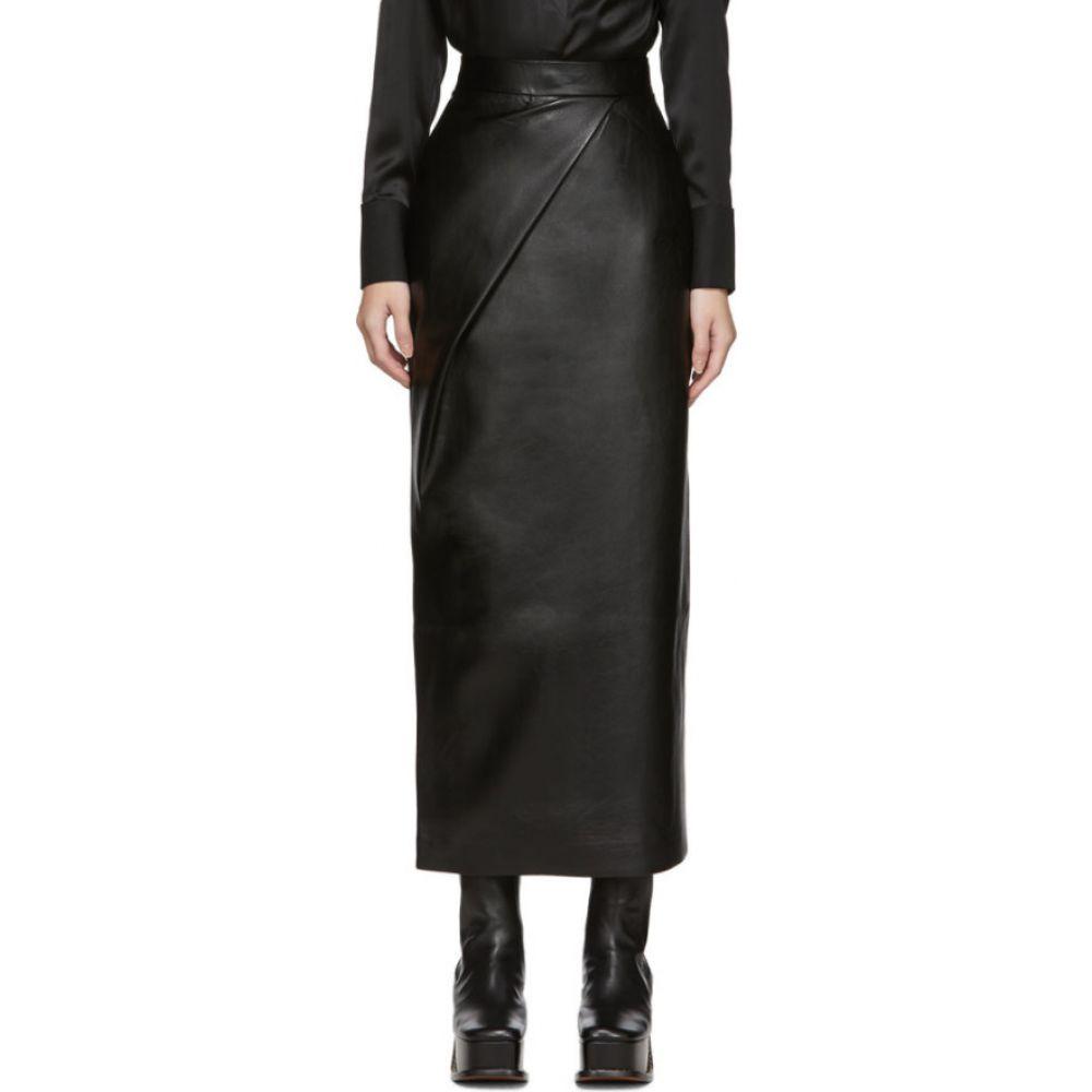 マテリエルティビリシ Materiel Tbilisi レディース ひざ丈スカート スカート【black faux-leather skirt】Black
