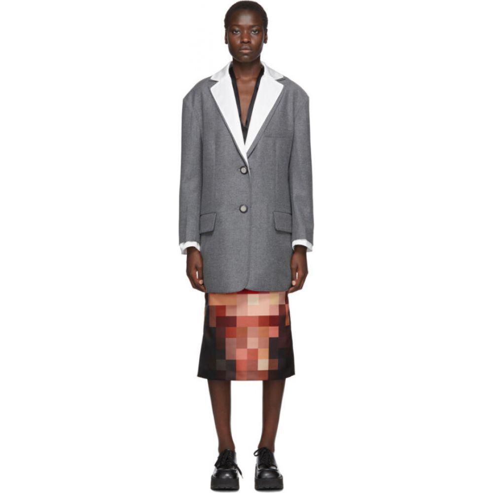 マルニ Marni レディース スーツ・ジャケット アウター【white & grey masculine blazer】Inox