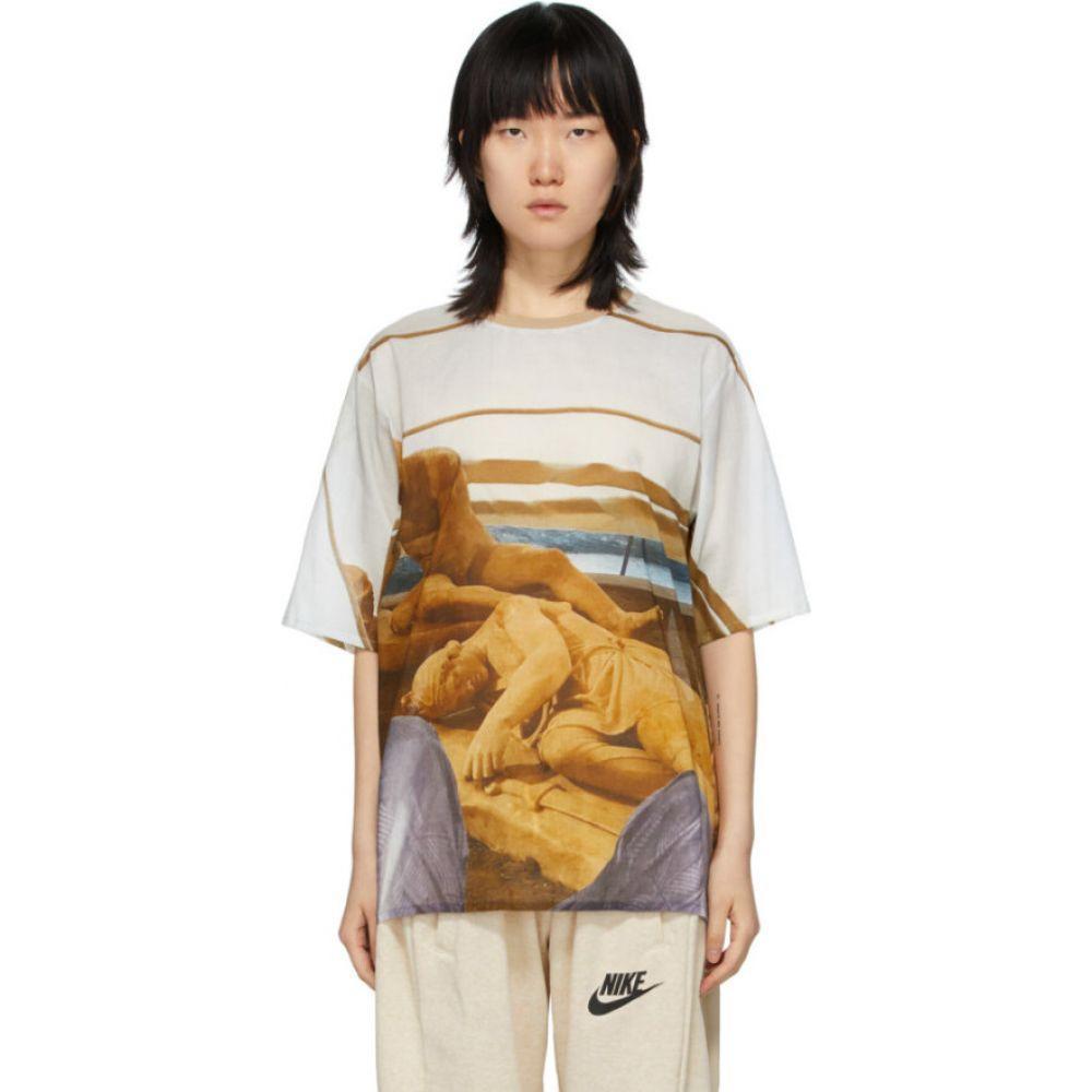 ブレス Bless レディース Tシャツ トップス【white holiday sleep statues t-shirt】White/Brown
