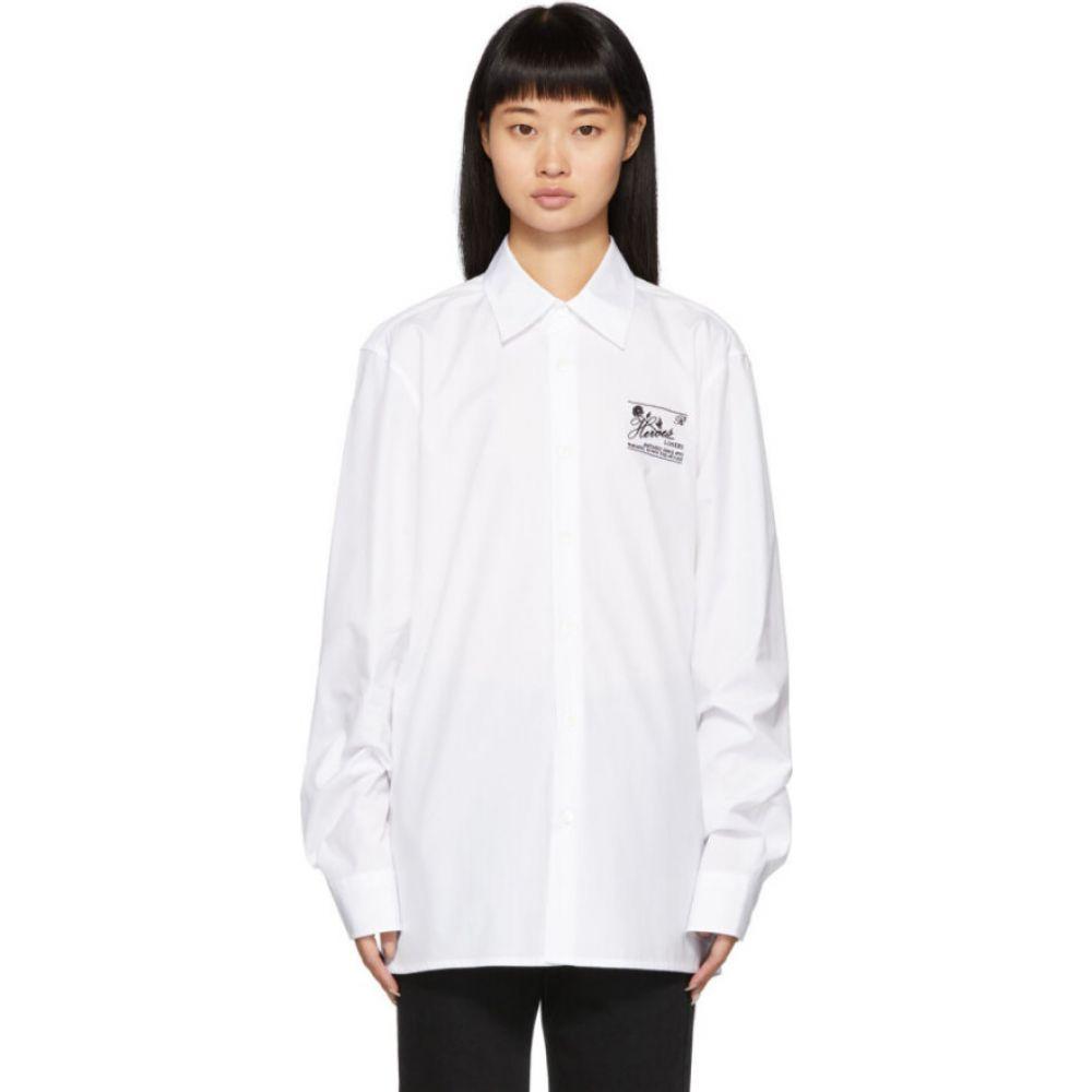ラフ シモンズ Raf Simons レディース ブラウス・シャツ トップス【white embroidered slim-fit shirt】White