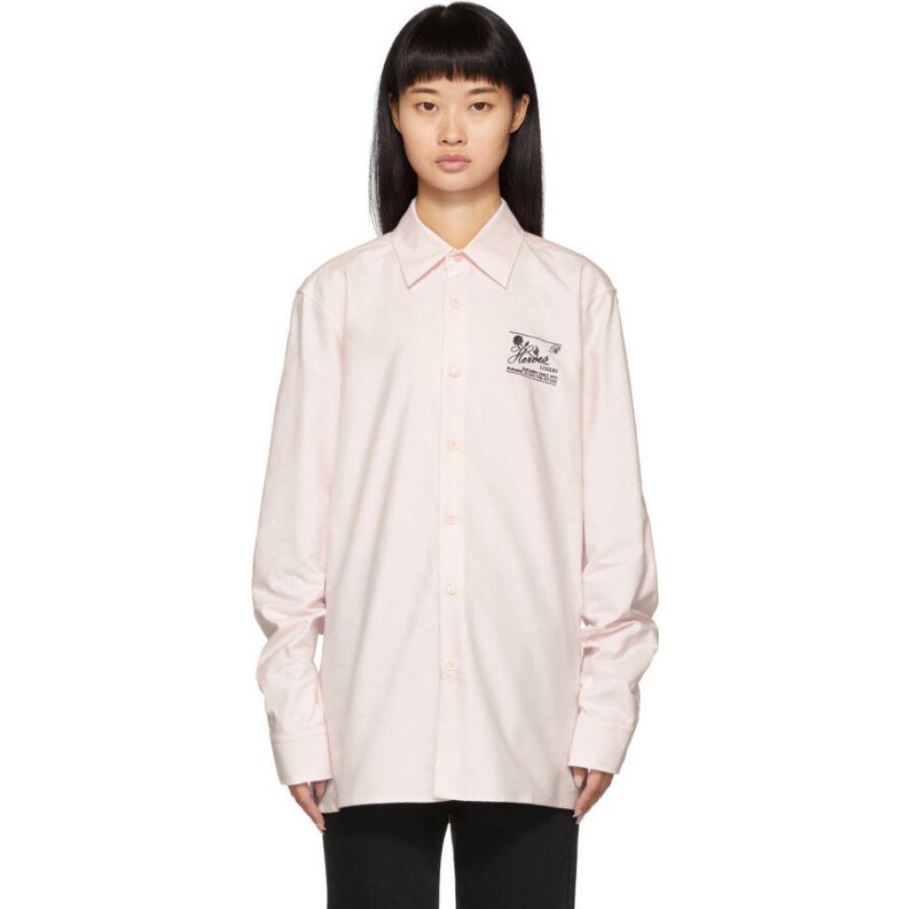 ラフ シモンズ Raf Simons レディース ブラウス・シャツ トップス【pink embroidered slim fit collared shirt】Light Pink