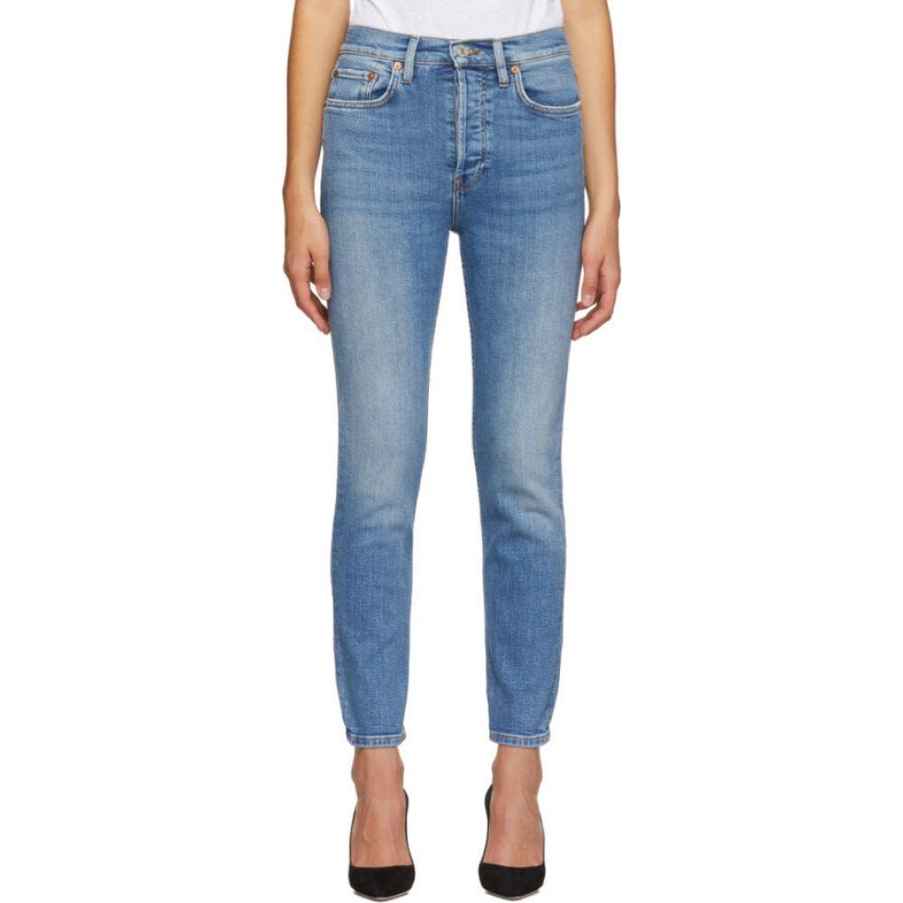 リダン Re/Done レディース ジーンズ・デニム ボトムス・パンツ【blue originals high rise ankle crop jeans】Worn indigo