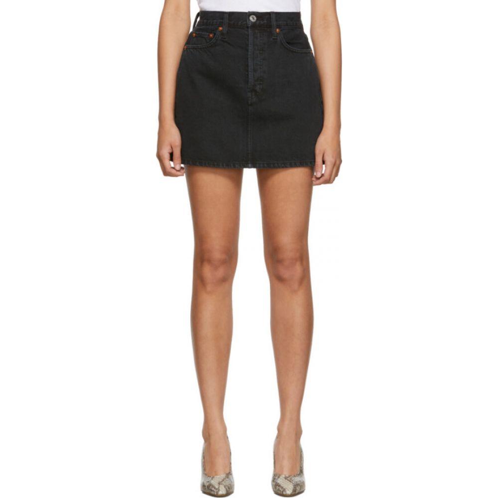 リダン Re/Done レディース ミニスカート スカート【black denim 60s miniskirt】Washed black