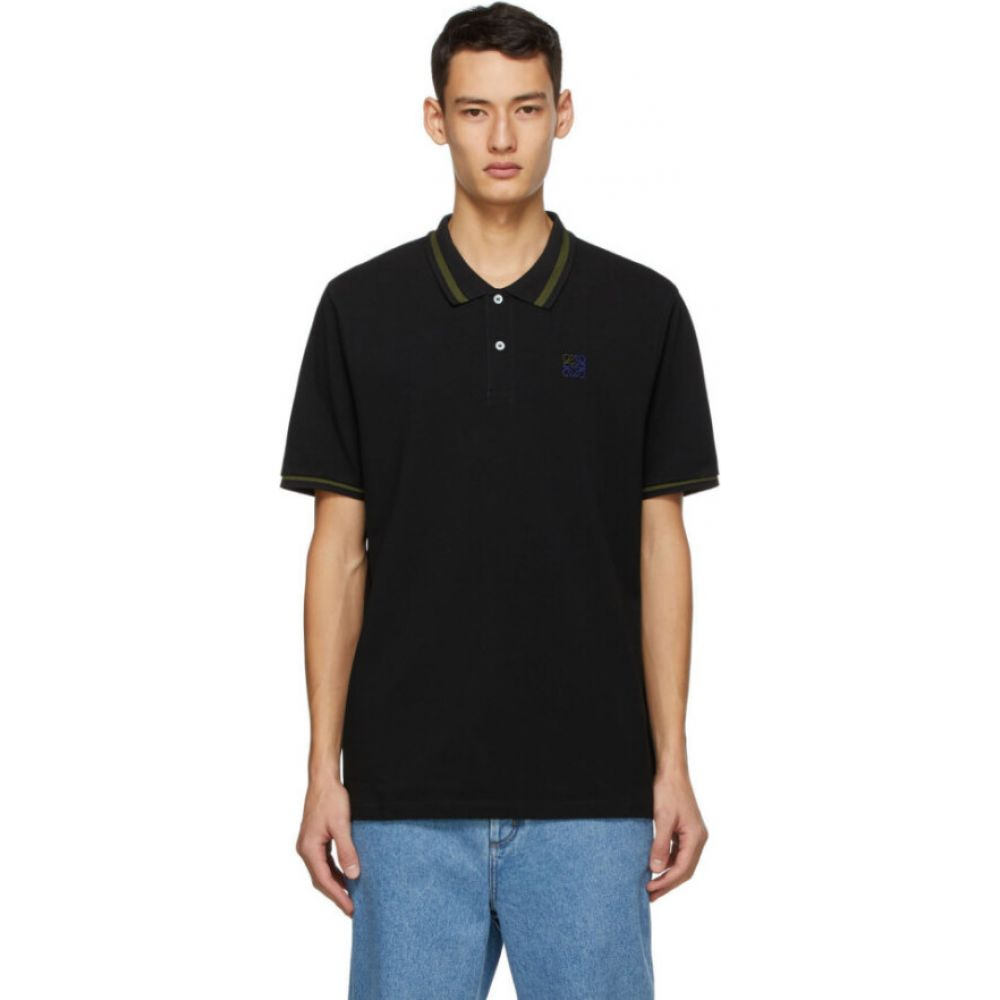 <title>ロエベ メンズ 発売モデル トップス ポロシャツ Black サイズ交換無料 Loewe Anagram Embroidered Polo</title>