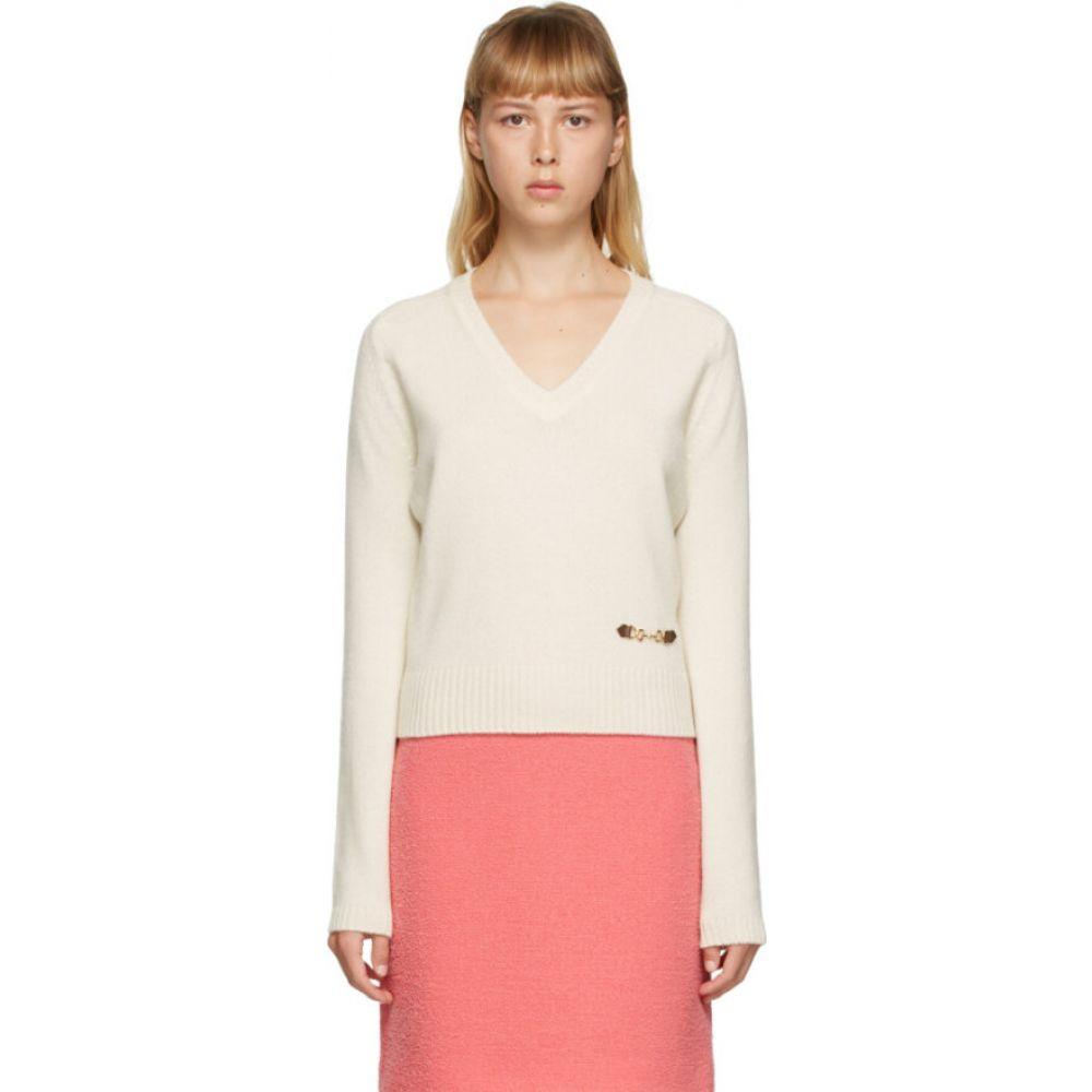 グッチ 保障 レディース トップス ニット セーター Ivory サイズ交換無料 超人気 専門店 Horsebit Sweater V-Neck Vネック Cashmere Off-White Gucci