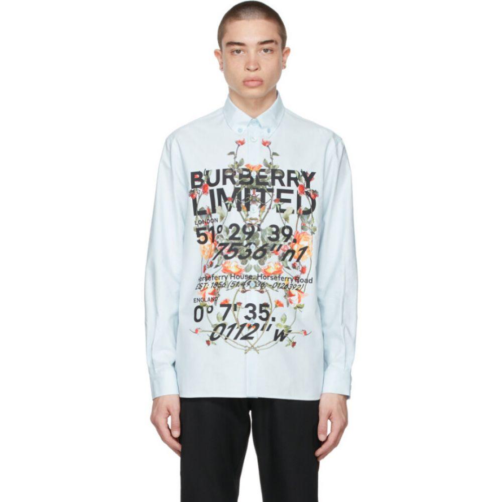 バーバリー メンズ トップス Pale blue 【サイズ交換無料】 バーバリー Burberry メンズ トップス 【Blue Montage Print Shirt】Pale blue