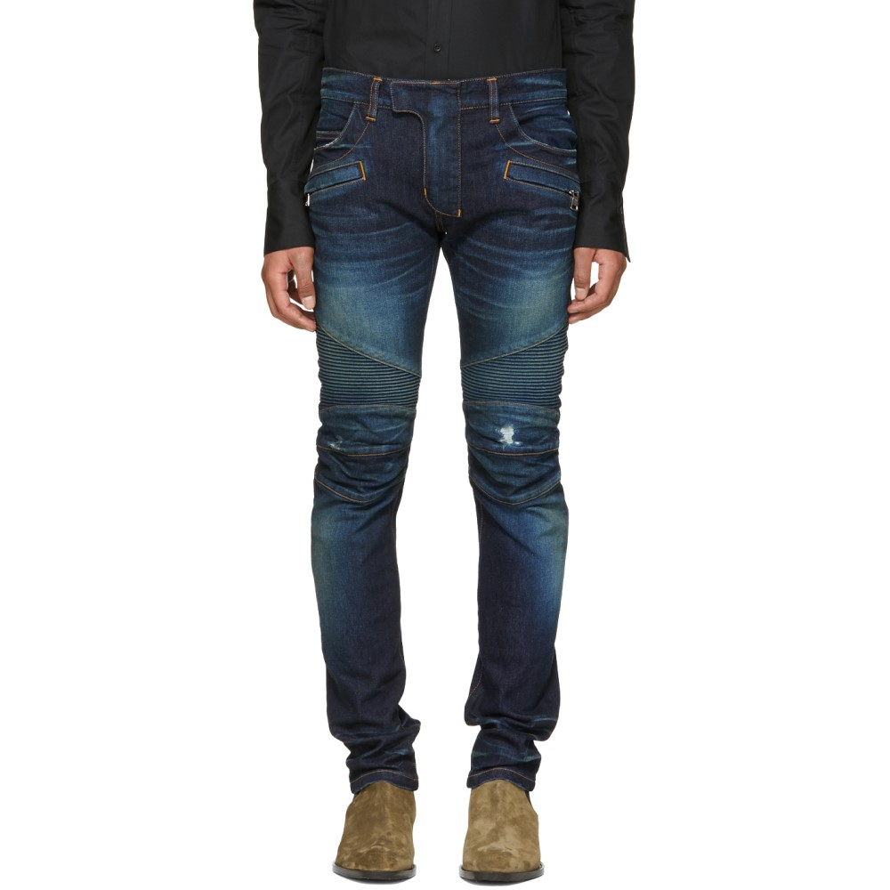 バルマン メンズ ボトムス・パンツ ジーンズ・デニム【Blue Vintage Distressed Biker Jeans】