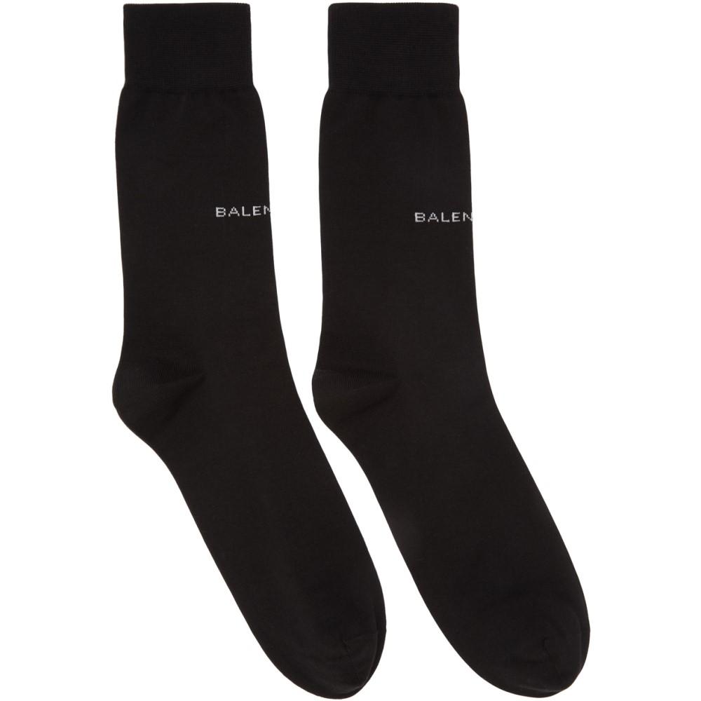 バレンシアガ メンズ インナー・下着 ソックス【Black Logo Socks】