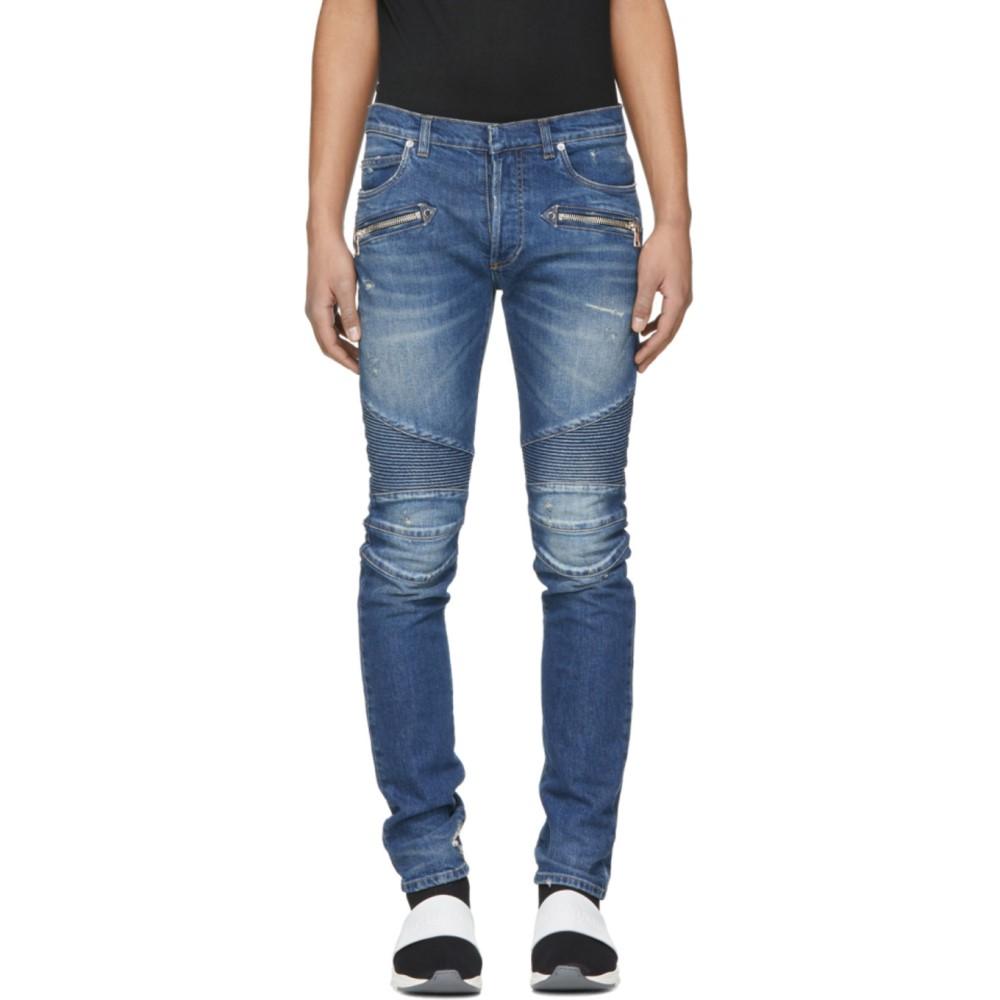 バルマン メンズ ボトムス・パンツ ジーンズ・デニム【Blue 7-Pocket Washed Effect Biker Jeans】