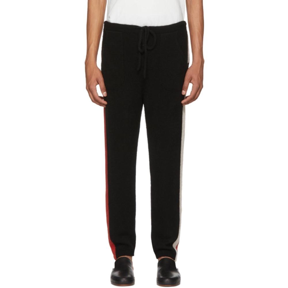 ジ エルダー ステイトマン メンズ ボトムス・パンツ スウェット・ジャージ【SSENSE Exclusive Black Striped Cashmere Lounge Pants】