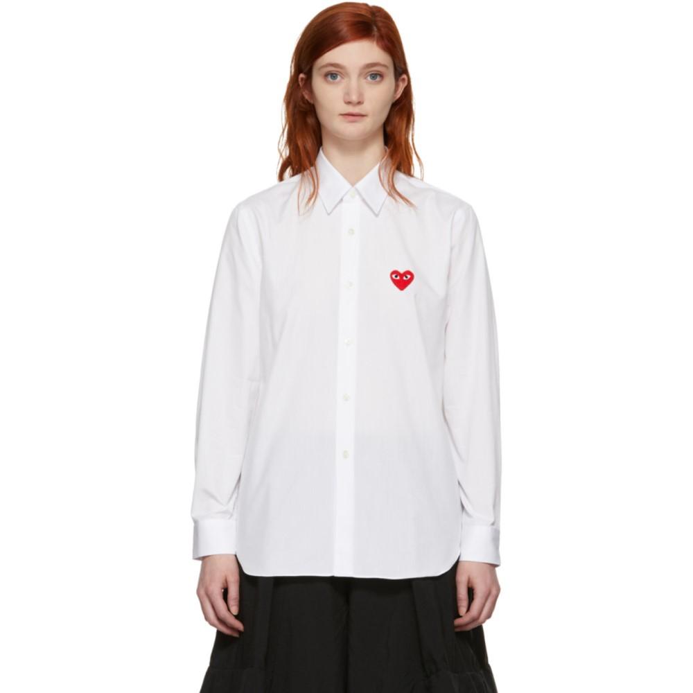 コム デ ギャルソン レディース トップス ブラウス・シャツ【White Men's Fit Heart Patch Shirt】