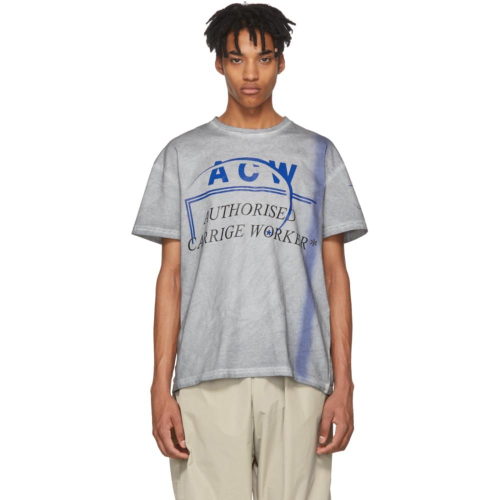 アコールドウォール メンズ トップス Tシャツ【Grey & Blue 'Authorised Carrige Worker' T-Shirt】