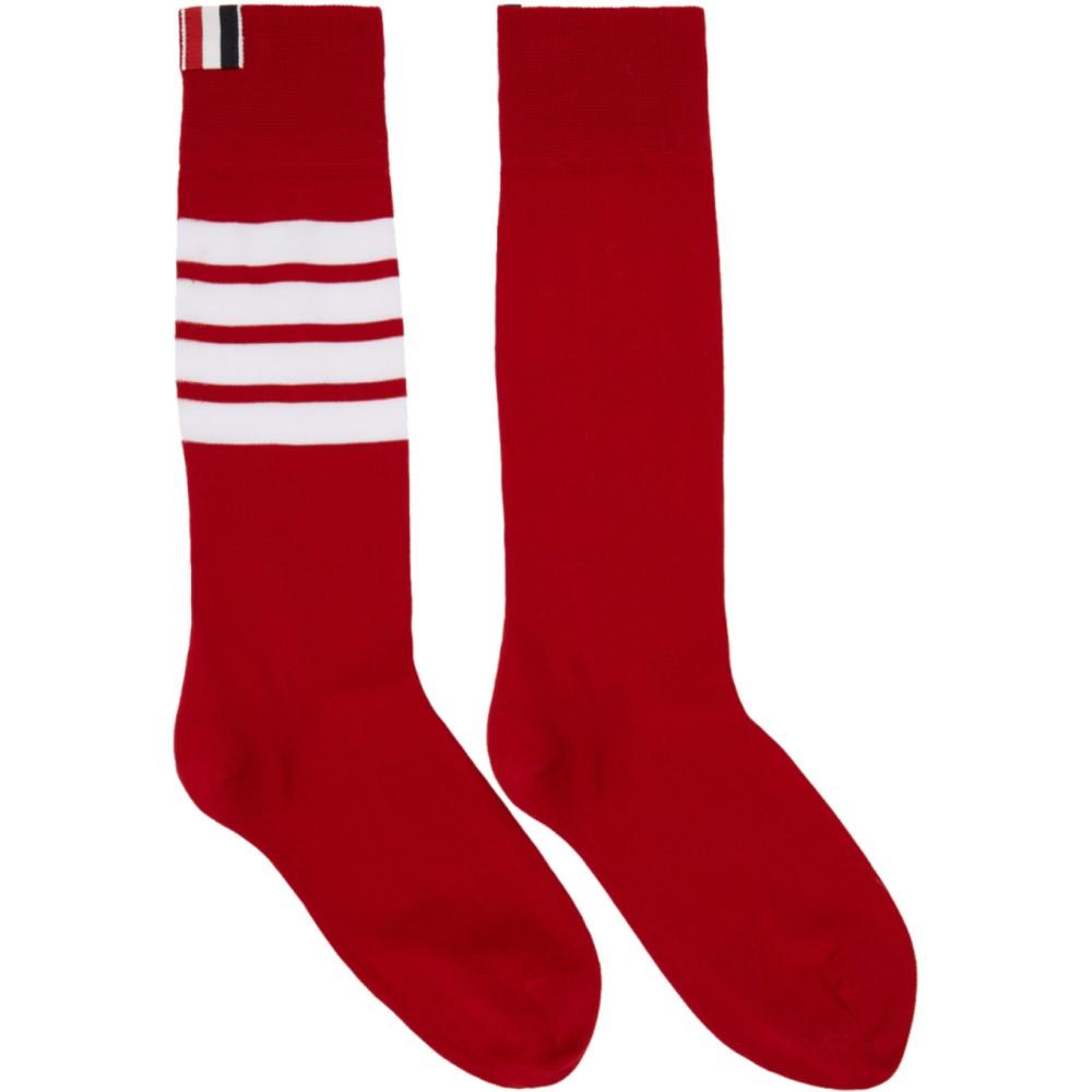 トム ブラウン レディース インナー・下着 ソックス【Red Ribbed Four Bar Socks】