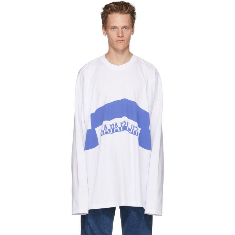 マーティン ローズ メンズ トップス 長袖Tシャツ【White & Blue Long Sleeve Siri T-Shirt】