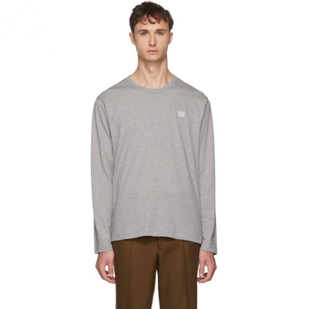 アクネ ストゥディオズ メンズ トップス 長袖Tシャツ【Grey Long Sleeve Nash Face T-Shirt】