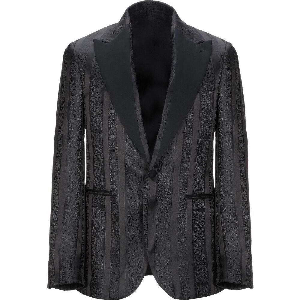 アウター【blazer】Black VERSACE ヴェルサーチ メンズ スーツ・ジャケット