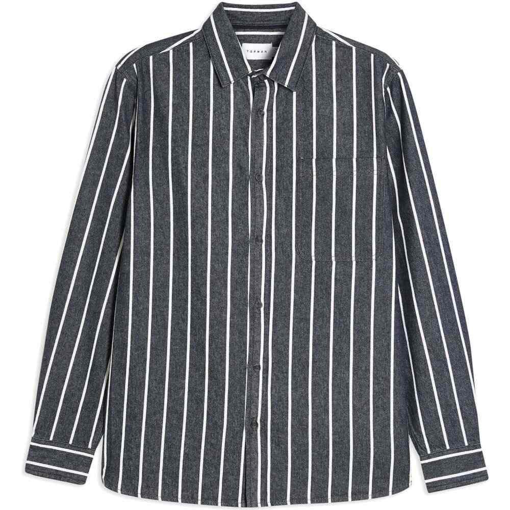 トップマン TOPMAN メンズ シャツ トップス【indigo/white twill striped shirt】Dark blue