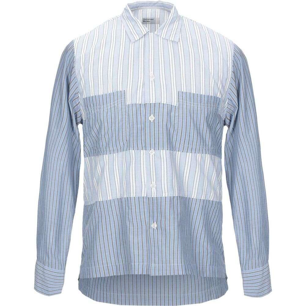 ユニバーサルワークス UNIVERSAL WORKS メンズ シャツ トップス【striped shirt】Sky blue