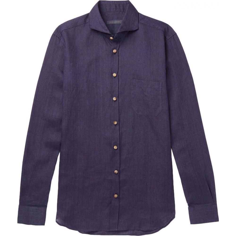 トム スウィーニー THOM SWEENEY メンズ シャツ トップス【linen shirt】Dark blue
