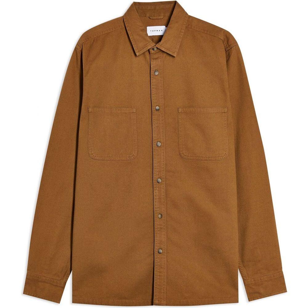 トップマン TOPMAN メンズ シャツ トップス【long sleeve tob washed twill solid color shirt】Brown