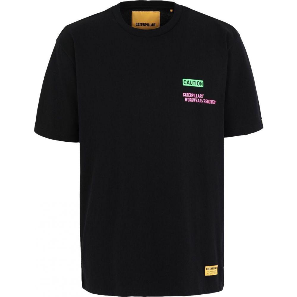 美品  キャピタラー カジュアル CATERPILLAR メンズ Tシャツ トップス【caution t-shirt】Black, 日進堂 b1da926c