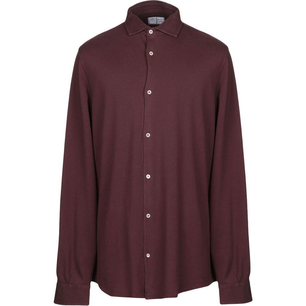 フェデーリ FEDELI メンズ シャツ トップス【solid color shirt】Maroon