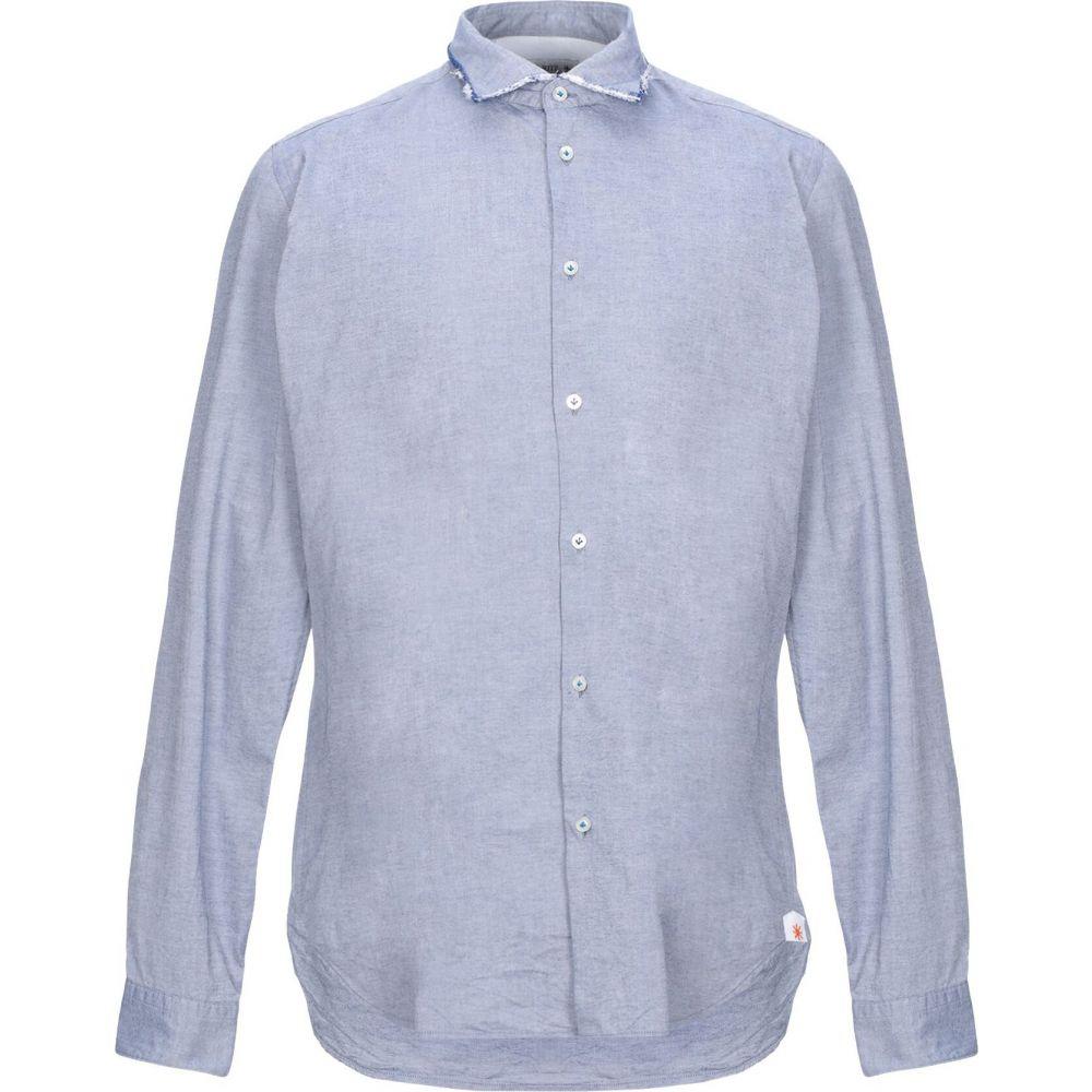 マニュエル リッツ MANUEL RITZ メンズ シャツ トップス【solid color shirt】Slate blue