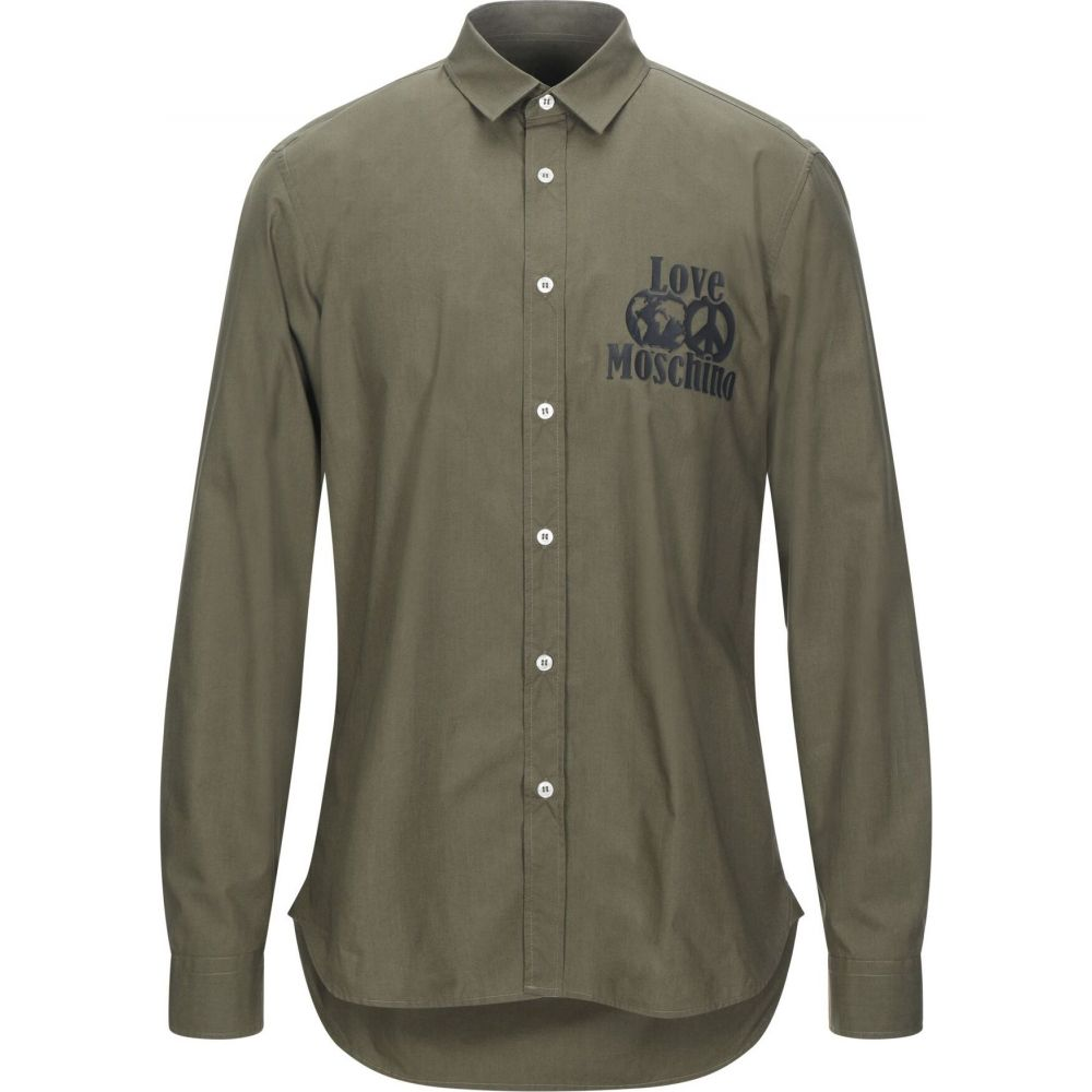 モスキーノ LOVE MOSCHINO メンズ シャツ トップス【solid color shirt】Military green