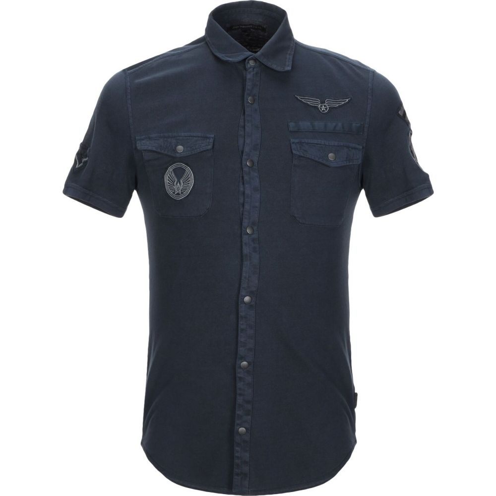 ジョン バルベイトス JOHN VARVATOS U.S.A. メンズ シャツ トップス【solid color shirt】Dark blue