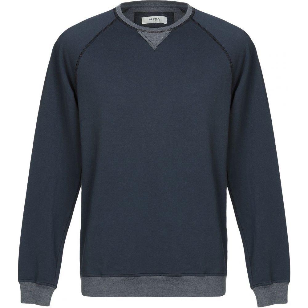 アルファス テューディオ メンズ トップス スウェット 驚きの値段 トレーナー blue ALPHA サイズ交換無料 STUDIO 送料込 Sweatshirt Dark