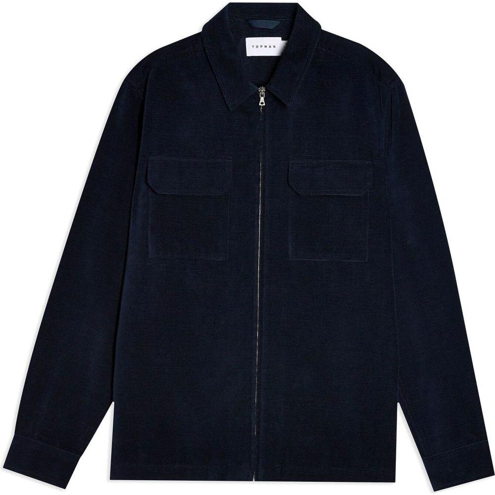 トップマン メンズ トップス シャツ Dark blue サイズ交換無料 TOPMAN solid 高品質新品 overshirt navy zip color corduroy オーバーシャツ SALE開催中 shirt