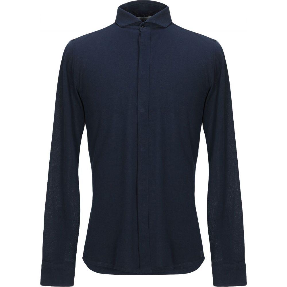 パオロ ペコラ PAOLO PECORA メンズ シャツ トップス【solid color shirt】Dark blue