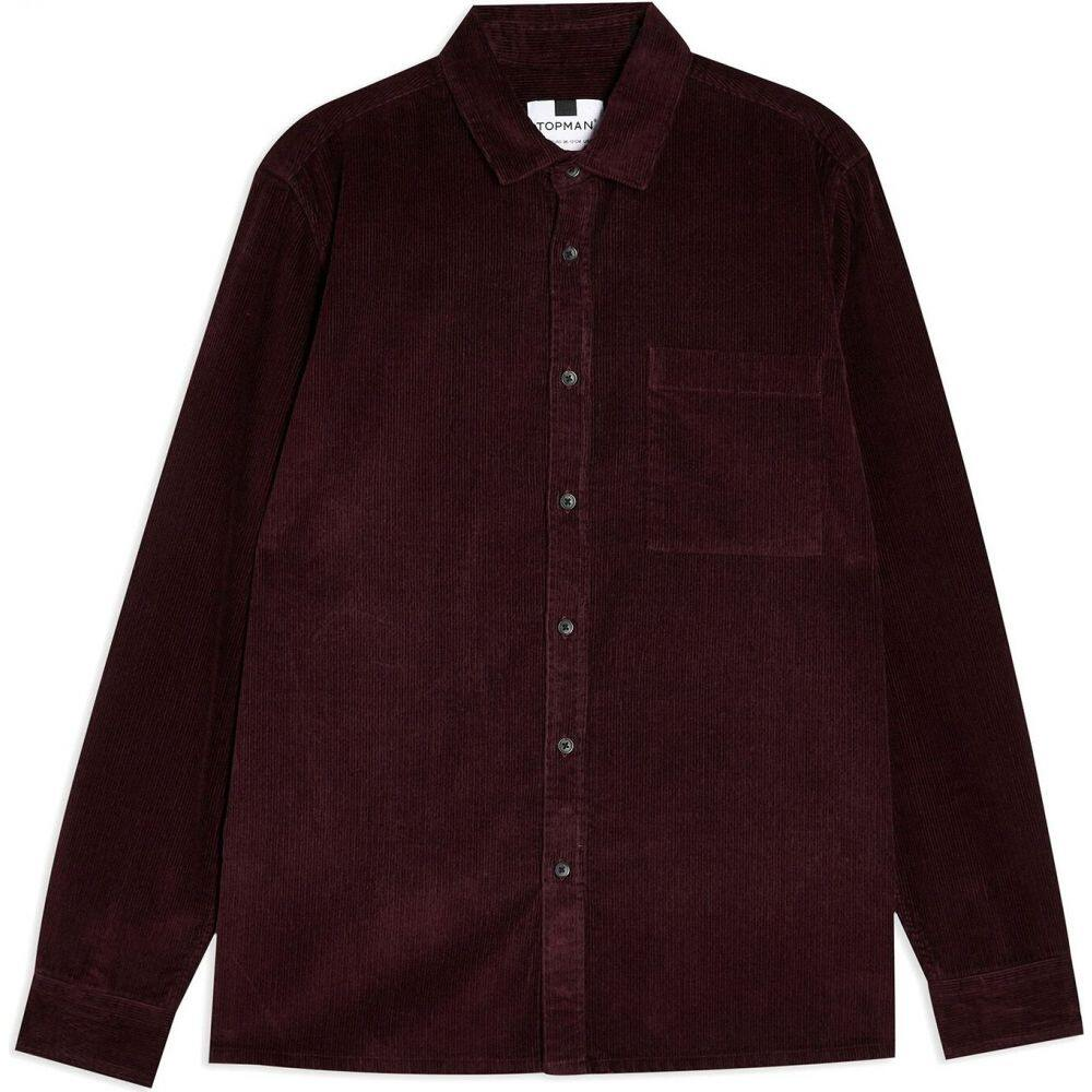 トップマン TOPMAN メンズ シャツ トップス【burgundy corduroy one pocket jacket solid color shirt】Deep purple