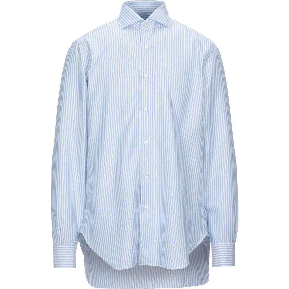 お待たせ! バルバ Shirt】Sky BARBA Napoli トップス【Striped メンズ シャツ トップス【Striped Shirt】Sky バルバ blue, 広尾郡:056f9679 --- cleventis.eu