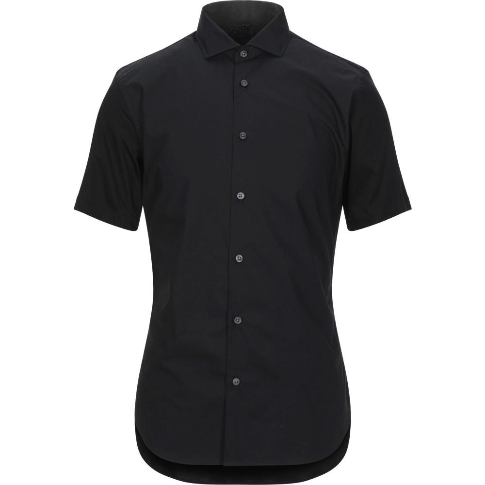 ZZEGNA メンズ シャツ トップス【solid color shirt】Black