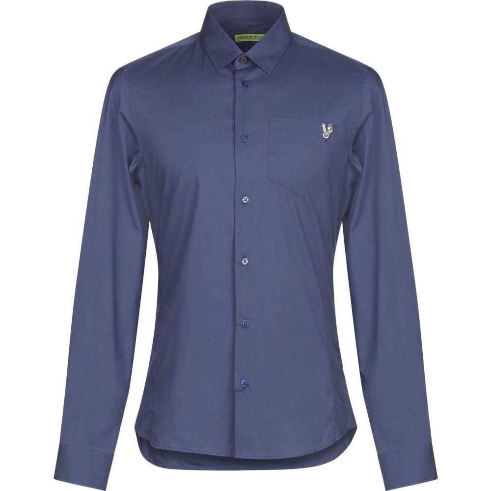ヴェルサーチ VERSACE JEANS メンズ シャツ トップス【solid color shirt】Dark blue