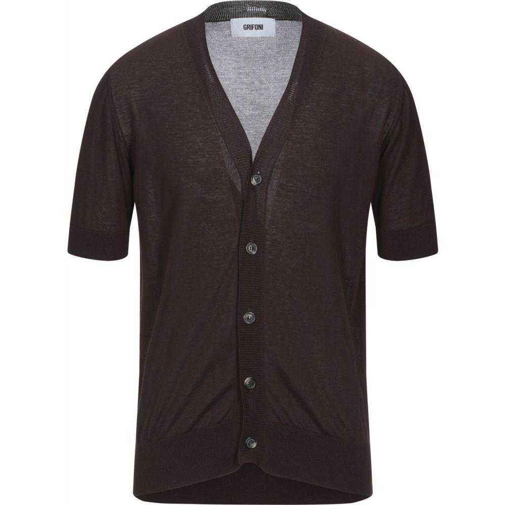 【在庫処分】 マウロ グリフォーニ MAURO GRIFONI メンズ カーディガン トップス【Cardigan】Dark brown, 寿shop 1b229251