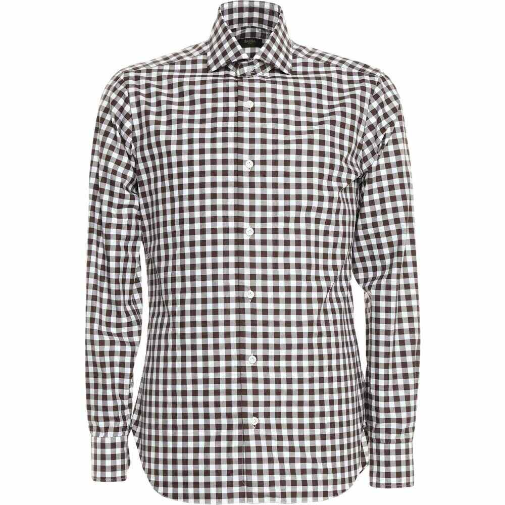 人気絶頂 バルバ BARBA Napoli メンズ シャツ トップス【Checked Shirt】Dark brown, ubazakura 4abba91f