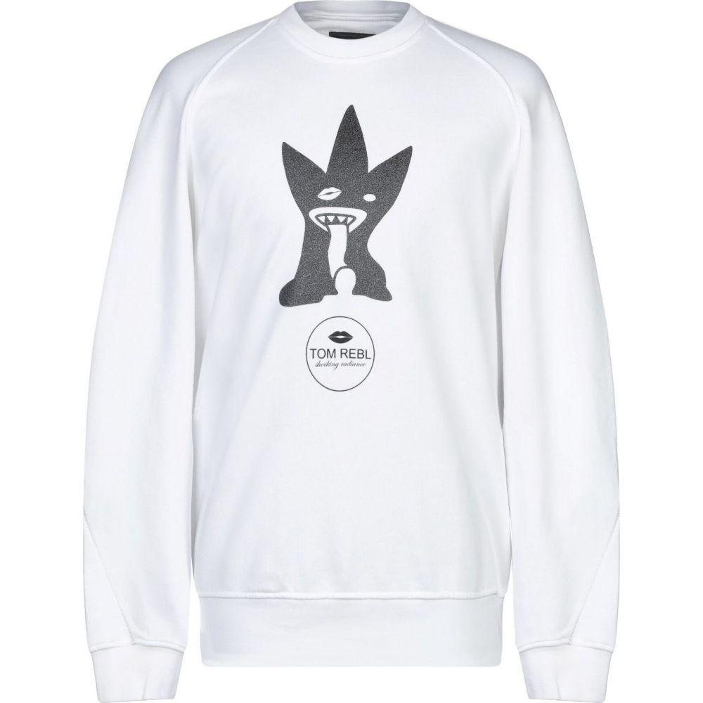 トム レベル メンズ トップス スウェット トレーナー sweatshirt 新商品 新型 サイズ交換無料 TOM 宅配便送料無料 REBL White