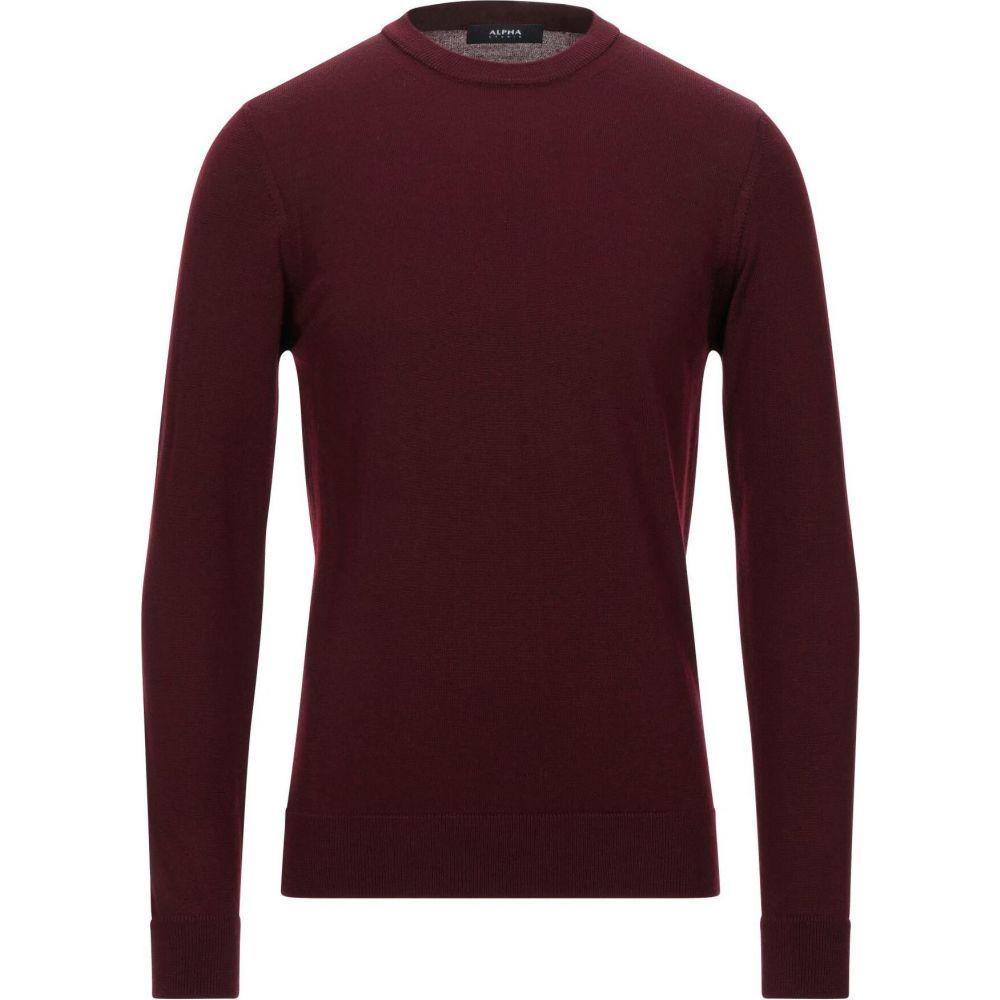 アルファス テューディオ メンズ トップス ニット セーター STUDIO サイズ交換無料 与え ALPHA sweater Maroon 評価