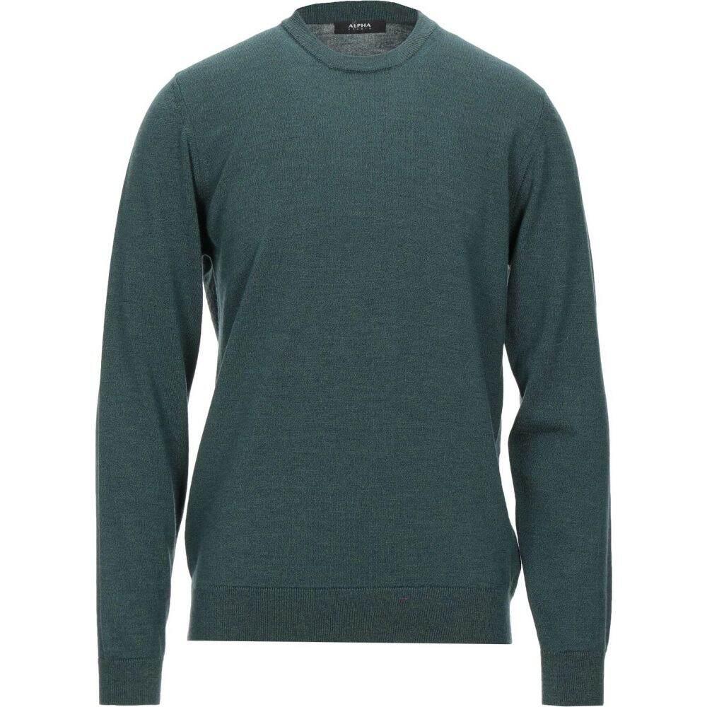アルファス テューディオ メンズ トップス ニット セーター sweater サイズ交換無料 ALPHA 新入荷 流行 受賞店 STUDIO green Dark
